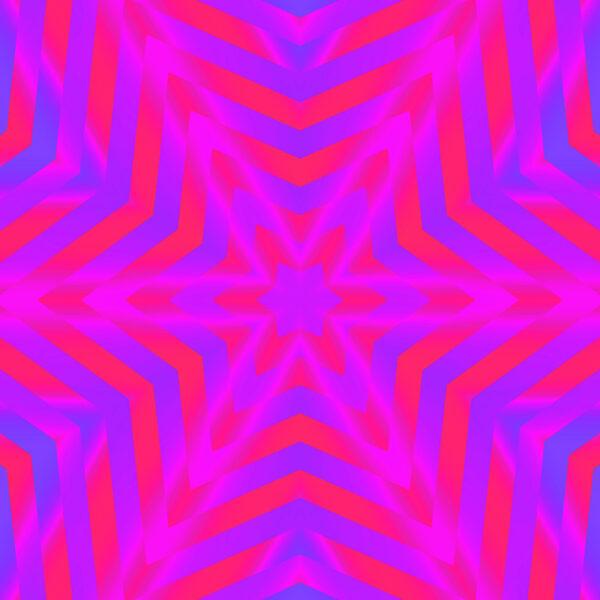 fuchsia and blue kaleidoscopic star digital fine art image