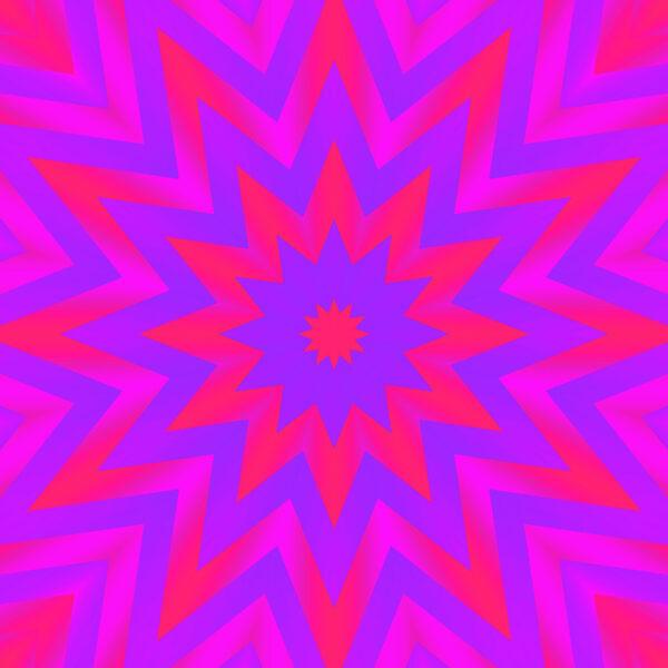 fuchsia and blue kaleidoscopic star abstract fine art