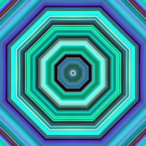 colorful striped hexagon design
