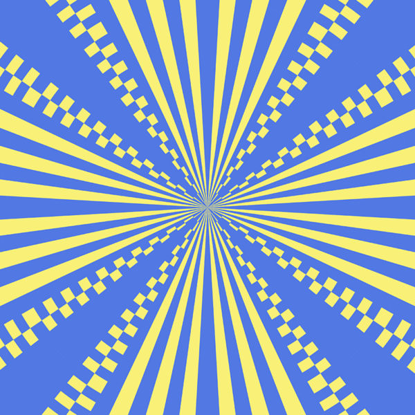 blue and yellow stripes and checkerboard